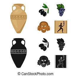 Greece, olive, branch, vase .Greece set collection icons in cartoon, black style bitmap symbol stock illustration web.