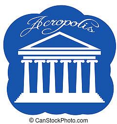 Greece Parthenon icon, vector illustration