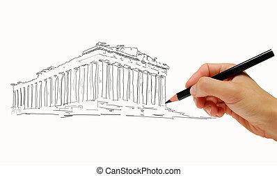 Greece Parthenon sketch  - Greece Parthenon sketch