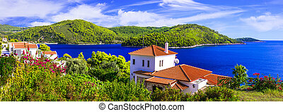 Beautiful islands of Greece - Skopelos with stunning Panormos bay. Northen Sporades