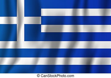 Greece realistic waving flag vector illustration. National country background symbol. Independence day