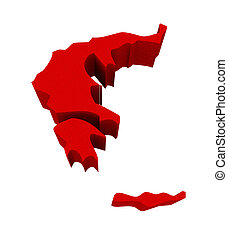 Greece Red 3d Europe Map Isolated