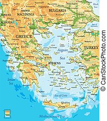 Highly detailed physical map of Greece, in vector format, with all the relief forms, regions and big cities.