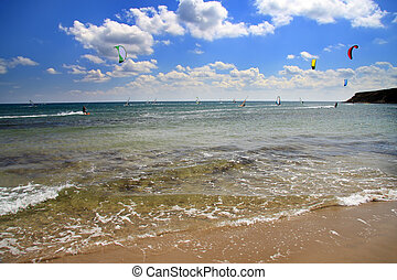 Greece. Rhodes. Prasonisi . A windsurfing resort