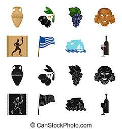 Greece, running, wine, flag .Greece set collection icons in black, cartoon style bitmap symbol stock illustration web.