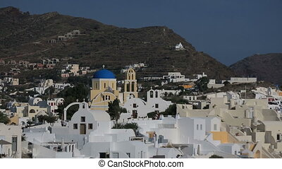 Greece Santorini island in Cyclades at summer, the most famous sunset in the world over the sea.