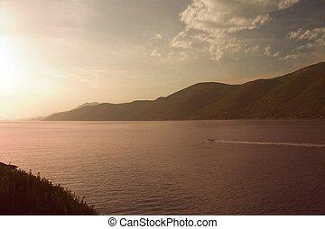 greece sea coast, sunset