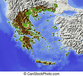 Greece, shaded relief map - Greece. Shaded relief map with...