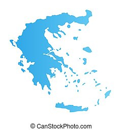 Greece silhouette, flat vector illustration blue color isolated on white.