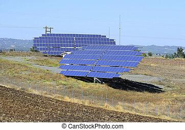 Greece, solar collectors near Grevena