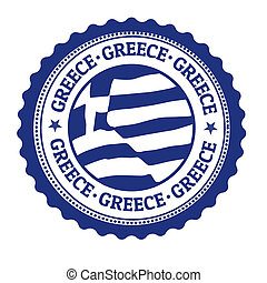 Stamp or label with Greek Flag and the word Greece written inside, vector illustration