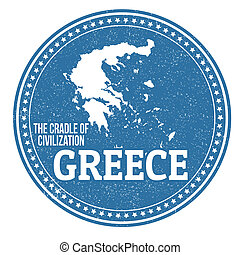 Vintage stamp with text The Crandle of Civilization written inside and map of Greece, vector illustration