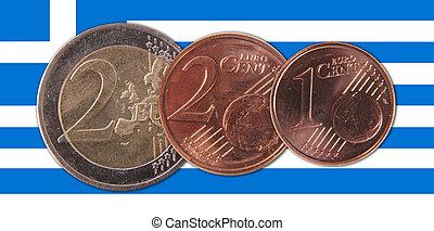 Greece - A Greek flag with three coins