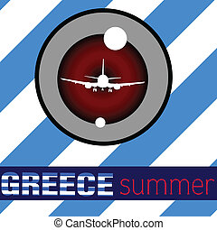 greece summer with airplane vector