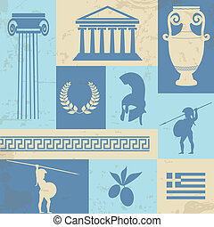 Greece symbols and landmarks on retro poster