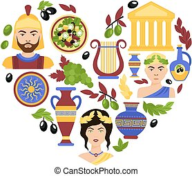 Greece symbols heart