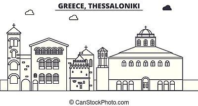 Greece, Thessaloniki line skyline vector illustration....