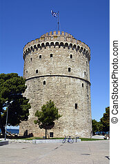 Greece, Thessaloniki aka Saloniki, the White Tower, landmark...