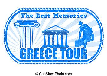 Greece tour stamp - Greece tour grunge rubber stamp on white...