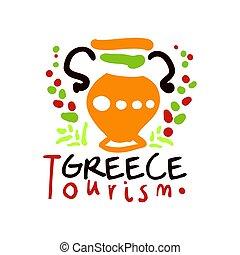 Greece tourism logo template hand drawn vector Illustration