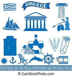 Greece - traditional greek symbols on white background, vector illustration