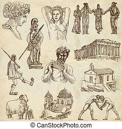 Greece travel - An hand drawn pack - Travel series: GREECE -...