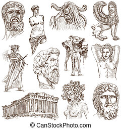 Greece travel - An hand drawn pack - Travel series: GREECE -...