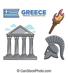 Greece travel destination famous tourist landmarks and culture vector icons