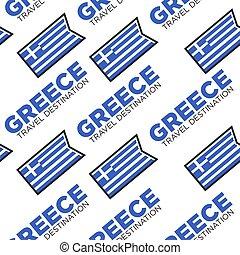 Greece travel destination Greek national flag seamless pattern