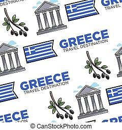 Greece travel destination seamless pattern Greek symbols
