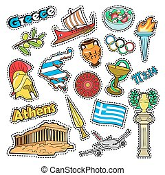 Greece Travel Elements with Architecture and Olimpic Fire....