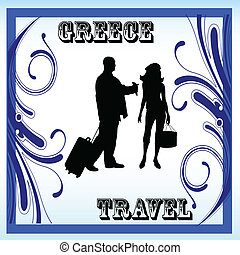 greece travel in the frame with couple vector illustration