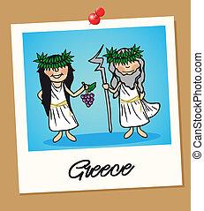 Greece travel polaroid people - Greek man and woman cartoon...