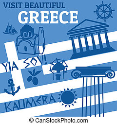 Greece travel poster - Travel poster with symblos of Greece,...