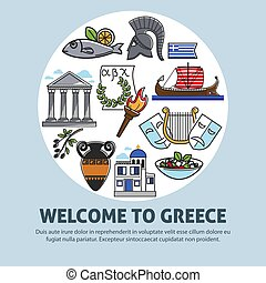 Greece travel welcome poster of Greek sightseeings and famous culture landmarks icons