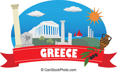 greece., turismo, y, viaje