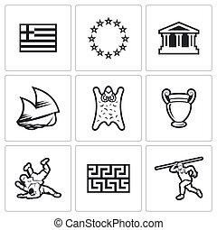 Greece vector icons. Vector Illustration - Greece Vector...