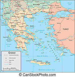 Greece - Vector map. Marked geographical and topographical ...