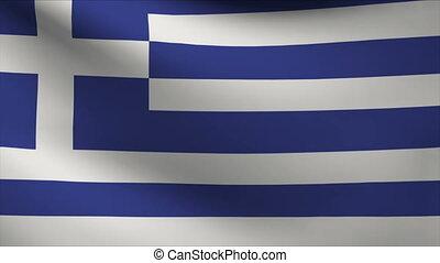greece - greek flag waving gently in wind