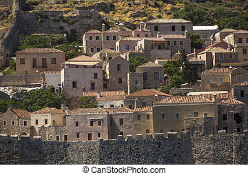 Greece, view of stone houses of Monemvasia island.