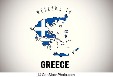 Greece Welcome to Text and Country flag inside Country border Map Vector Design.