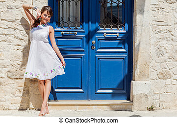 Greece woman is posing