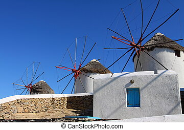 (greece, zonnig, cyclades), windmolen, mykonos