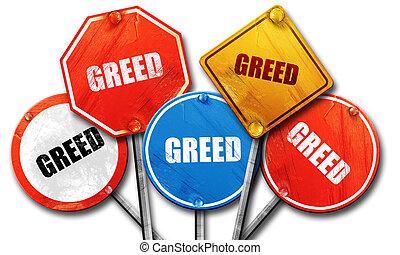 greed, 3D rendering, street signs