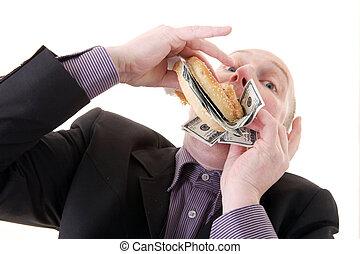 greed avarice consuming dollars - greed, businessman eating...
