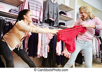 Greed - Female shoppers fighting for the last tanktop in...