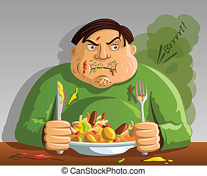 Greed - Gluttony - Man Overeating