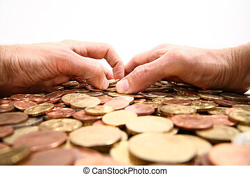 Greed - grabbing all the money, hands grabbing coins...