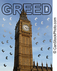 Greed In Parliament - Concept representing greed in...