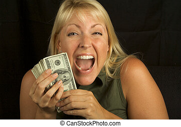 Greed & Money - Attractive Woman Excited About her Stack of...